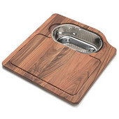 Orca Solid Wood Cutting Board with Polished Stainless Steel Colander