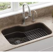 Orca Large Single Bowl Undermount Kitchen Sink, Granite, Fragranite Mocha, 31-3/8''W x 20-3/4''D x 9''H