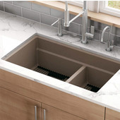 Peak Double Bowl Undermount Kitchen Sink, Granite, Fragranite Champagne, 32''W x 18-3/4''D x 9-1/2''H