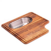 Professional Solid Wood Cutting Board with Polished Stainless Steel Colander