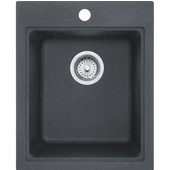 Quantum Single Bowl Drop In Kitchen Sink, Granite, Graphite, 16-3/4''W x 20-1/2''D x 8''H