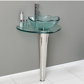 Netto 24'' Wide Modern Glass & Stainless Steel Bathroom Pedestal