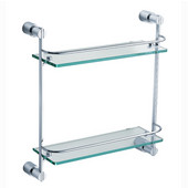 Magnifico Wall Mounted 2 Tier Glass Shelf in Chrome, Dimensions: 15-1/4'' W x 5'' D x 15-7/8'' H