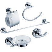 Alzato Wall Mounted 5-Piece Bathroom Accessory Set in Chrome