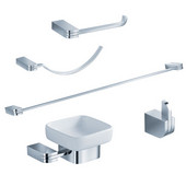 Solido Wall Mounted 5-Piece Bathroom Accessory Set in Chrome