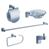 Generoso Wall Mounted 5-Piece Bathroom Accessory Set in Chrome
