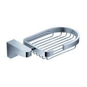Generoso Wall Mounted Soap Basket in Chrome, Dimensions: 6-3/8'' W x 3-7/8'' D x 1-5/8'' H