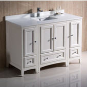 Oxford 48'' Wide Antique White Traditional Bathroom Cabinets w/ Top & Sink, 48'' W x 20-3/8'' D x 34-3/4'' H
