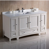 Oxford 60'' Wide Antique White Traditional Bathroom Cabinets w/ Top & Sink, 60'' W x 20-3/8'' D x 34-3/4'' H