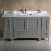 Oxford 60'' Gray Traditional Bathroom Vanity Cabinets w/ Top & Sink, 60'' W x 20-3/8'' D x 34-3/4'' H