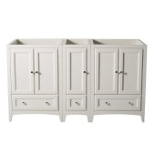 Oxford 60'' Antique White Traditional Double Sink Vanity Base Cabinets, 59-1/4'' W x 20'' D x 34'' H