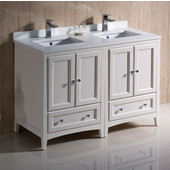 Oxford 48'' Wide Antique White Traditional Double Sink Bathroom Cabinets w/ Top & Sinks, 48'' W x 20-3/8'' D x 34-3/4'' H
