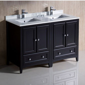 Oxford 48'' Wide Espresso Traditional Double Sink Bathroom Cabinets w/ Top & Sinks, 48'' W x 20-3/8'' D x 34-3/4'' H