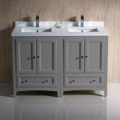 Oxford 48'' Gray Traditional Double Sink Bathroom Vanity Cabinets w/ Top & Sinks, 48'' W x 20-3/8'' D x 34-3/4'' H