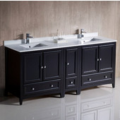 Oxford 72'' Wide Espresso Traditional Double Sink Bathroom Cabinets w/ Top & Sinks, 72'' W x 20-3/8'' D x 34-3/4'' H