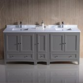 Oxford 72'' Gray Traditional Double Sink Bathroom Vanity Cabinets w/ Top & Sinks, 72'' W x 20-3/8'' D x 34-3/4'' H