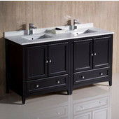 Oxford 60'' Wide Espresso Traditional Double Sink Bathroom Cabinets w/ Top & Sinks, 60'' W x 20-3/8'' D x 34-3/4'' H