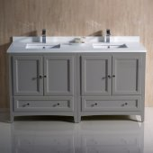 Oxford 60'' Gray Traditional Double Sink Bathroom Vanity Cabinets w/ Top & Sinks, 60'' W x 20-3/8'' D x 34-3/4'' H