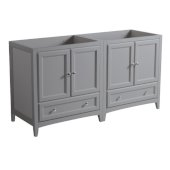 Oxford 59''-60'' Gray Traditional Double Sink Bathroom Vanity Cabinets, 59'' W x 20'' D x 34'' H