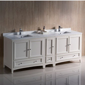 Oxford 84'' Wide Antique White Traditional Double Sink Bathroom Cabinets w/ Top & Sinks, 84'' W x 20-3/8'' D x 34-3/4'' H