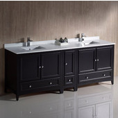 Oxford 84'' Wide Espresso Traditional Double Sink Bathroom Cabinets w/ Top & Sinks, 84'' W x 20-3/8'' D x 34-3/4'' H