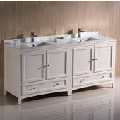 Oxford 72'' Wide Antique White Traditional Double Sink Bathroom Cabinets w/ Top & Sinks, 72'' W x 20-3/8'' D x 34-3/4'' H