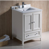 Oxford 24'' Wide Antique White Traditional Bathroom Cabinet w/ Top & Sinks, 24'' W x 20-3/8'' D x 34-3/4'' H