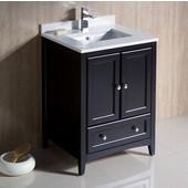 Oxford 24'' Wide Espresso Traditional Bathroom Cabinet w/ Top & Sink, 24'' W x 20-3/8'' D x 34-3/4'' H