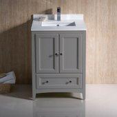 Oxford 24'' Gray Traditional Bathroom Vanity Cabinet w/ Top & Sinks, 24'' W x 20-3/8'' D x 34-3/4'' H