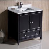 Oxford 30'' Wide Espresso Traditional Bathroom Cabinet w/ Top & Sink, 30'' W x 20-3/8'' D x 34-3/4'' H