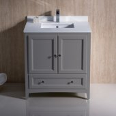 Oxford 30'' Gray Traditional Bathroom Vanity Cabinet w/ Top & Sink, 30'' W x 20-3/8'' D x 34-3/4'' H