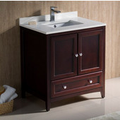 Oxford 30'' Wide Mahogany Traditional Bathroom Cabinet w/ Top & Sink, 30'' W x 20-3/8'' D x 34-3/4'' H