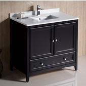 Oxford 36'' Wide Espresso Traditional Bathroom Cabinet w/ Top & Sink, 36'' W x 20-3/8'' D x 34-3/4'' H