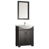 Hartford 30'' Black Traditional Bathroom Vanity, Vanity Base: 29-1/2'' W x 19'' D x 35'' H, Sink Top: 19'' W x 11-1/2'' D x 4-11/16'' H