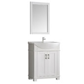 Hartford 30'' White Traditional Bathroom Vanity, Vanity Base: 29-1/2'' W x 19'' D x 35'' H, Sink Top: 19'' W x 11-1/2'' D x 4-11/16'' H