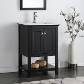Manchester 24'' Black Traditional Bathroom Vanity, Vanity Base: 23-1/2'' W x 18'' D x 34'' H, Sink Top: 16-1/2'' W x 11'' D x 5'' H