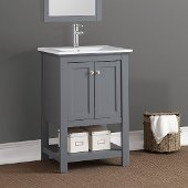 Manchester 24'' Gray Traditional Bathroom Vanity, Vanity Base: 23-1/2'' W x 18'' D x 34'' H, Sink Top: 16-1/2'' W x 11'' D x 5'' H