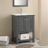 Manchester Regal 24'' Gray Wood Veneer Traditional Bathroom Vanity, Vanity Base: 23-1/2'' W x 18'' D x 34'' H, Sink Top: 16-1/2'' W x 11'' D x 5'' H