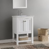 Manchester 24'' White Traditional Bathroom Vanity, Vanity Base: 23-1/2'' W x 18'' D x 34'' H, Sink Top: 16-1/2'' W x 11'' D x 5'' H