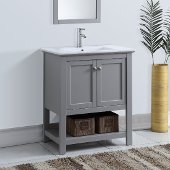 Manchester 30'' Gray Traditional Bathroom Vanity, Vanity Base: 29-1/2'' W x 18'' D x 34'' H, Sink Top: 18'' W x 11'' D x 5'' H