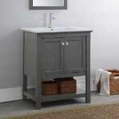 Manchester Regal 30'' Gray Wood Veneer Traditional Bathroom Vanity, Vanity Base: 29-1/2'' W x 18'' D x 34'' H, Sink Top: 18'' W x 11'' D x 5'' H