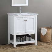 Manchester 30'' White Traditional Bathroom Vanity, Vanity Base: 29-1/2'' W x 18'' D x 34'' H, Sink Top: 18'' W x 11'' D x 5'' H