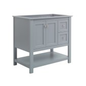 Manchester 36'' Gray Traditional Bathroom Vanity Base Cabinet Only, Vanity Base Cabinet: 35-1/5'' W x 20'' D x 34'' H