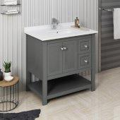 Manchester Regal 36'' Gray Wood Veneer Traditional Bathroom Vanity Base Cabinet w/ Top & Sink, Vanity: 36'' W x 20-2/5'' D x 34-4/5'' H
