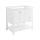 Manchester 36'' White Traditional Bathroom Vanity Base Cabinet Only, Vanity Base Cabinet: 35-1/5'' W x 20'' D x 34'' H
