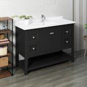 Manchester 48'' Black Traditional Bathroom Vanity Base Cabinet w/ Top & Sink, Vanity: 48'' W x 20-2/5'' D x 34-4/5'' H