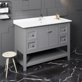 Manchester 48'' Gray Traditional Bathroom Vanity Base Cabinet w/ Top & Sink, Vanity: 48'' W x 20-2/5'' D x 34-4/5'' H