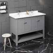 Manchester 48'' Gray Traditional Double Sink Bathroom Vanity Base Cabinet w/ Top & Sinks, Vanity: 48'' W x 20-2/5'' D x 34-4/5'' H
