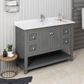 Manchester Regal 48'' Gray Wood Veneer Traditional Bathroom Vanity Base Cabinet w/ Top & Sink, Vanity: 48'' W x 20-2/5'' D x 34-4/5'' H