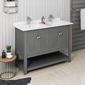 Manchester Regal 48'' Gray Wood Veneer Traditional Double Sink Bathroom Vanity Base Cabinet w/ Top & Sinks, Vanity: 48'' W x 20-2/5'' D x 34-4/5'' H